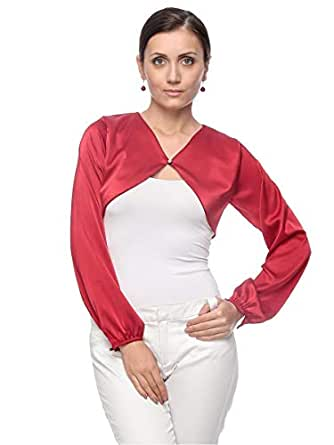 Seden Red Polyester Cardigan For Women