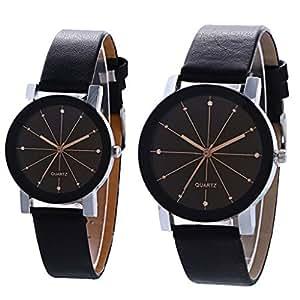 Reloj de Pulsera para Parejas con Correa de Cuarzo, Reloj de Pulsera de Cuero para
