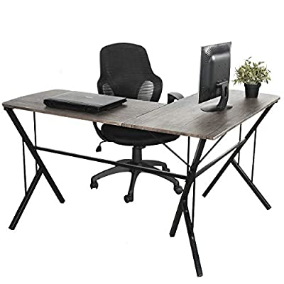 GreenForest L Shape Computer Corner Desk Home Office Simple Workstation by GreenWorlds