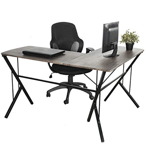 L-shaped Modern Desk (GreenForest L Shaped Desk Office Computer Corner Desk Modern Leg Design PC Laptop Simple Workstation in Home, 3D Wulnut)