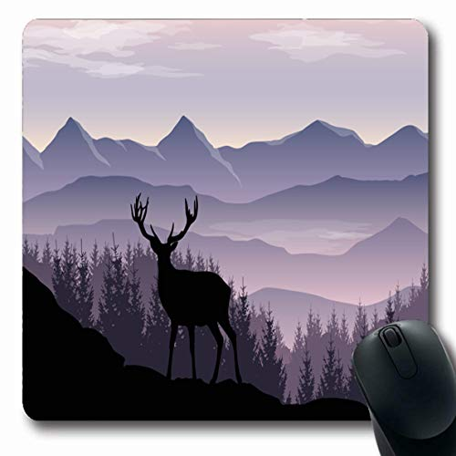LifeCO Computer Mousepad Blue Misty Mountains Forest Nature Peak Adventure Purple Antler Calm Rock Oblong Shape 7.9 x 9.5 Inches Oblong Gaming Non-Slip Rubber Mouse Pad ()