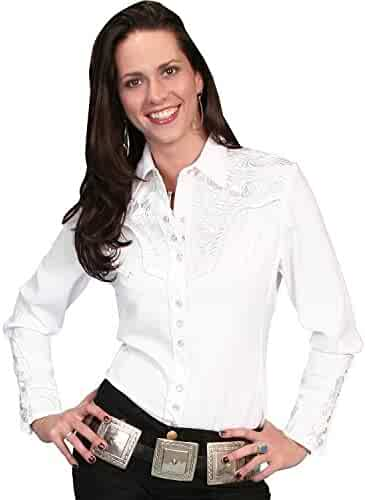 0b1b000a12270 Scully Women s Silver Western Embroidered Shirt - Pl654-Slv