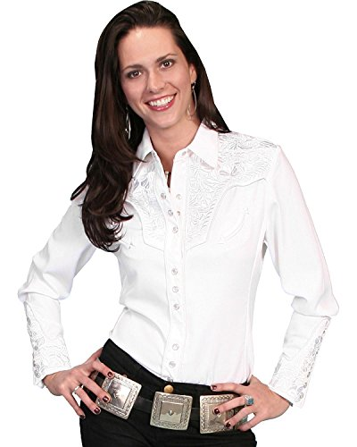 Scully Women's Floral Embroidered Western Shirt White Small
