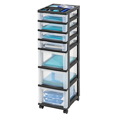 IRIS Storage Bin 108 Qt. 7-Drawer in Black 14.25D X 42.13H X 12.05W by IRIS USA, Inc.