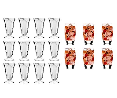 Anchor Hocking | 12.5 oz | Soda Fountain Glass| 12-Piece Set | bundle with Anchor Hocking Reality Classico | 16-oz.| Cooler Set | 6-Piece Set |