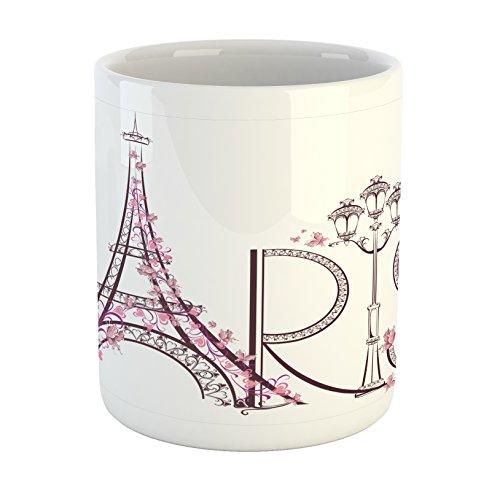 Lunarable Paris Mug, Tower Eiffel with Paris Lettering Couple Trip Flowers Floral Artful Design Print, Printed Ceramic Coffee Mug Water Tea Drinks Cup, Plum Pale Pink (Coffee Cup Eiffel)