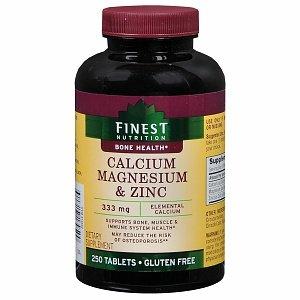 Finest Nutrition Calcium 333 mg Magnesium & Zinc Dietary Supplement Tablets 250 - Tablets Calcium 250 Magnesium