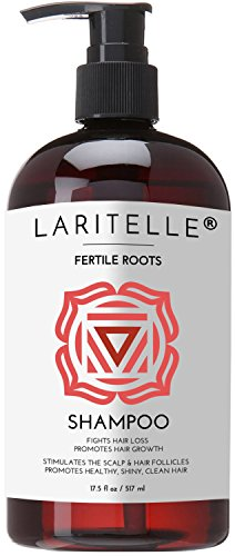 Laritelle Organic Shampoo, Fortifying, Strengthening and Rejuvenating, Stops Hair Shedding, Promotes New Hair Growth, Ayurvedic Herbs, Lavender, Ginger, Rosemary, Patchouli and Cloves, 17.5 oz