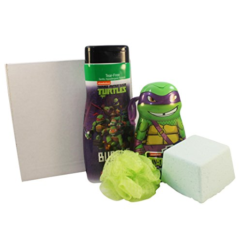 Green Apple Bubble Bath (Giant Bath Bomb Ninja Turtles Bubble Bath Boxed Set Featuring Ninja Turtle Bubble Bath, Hair and Bodywash, Body Pouf, and Green Apple Mega Bomb Fizzing Bath Bomb with Surprise Bath Squirter Toy Inside)