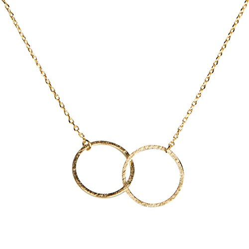 Double Happiness Circle Necklace - SPUNKYsoul Friendship for Eternity Necklace, Two Interlocking Infinity Circles Gift For Best Friend, Sister Mother, Daughter Gold for Women Collection