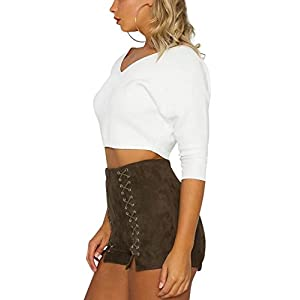 Missy Chilli Women's V Neck Off Shoulder Rib Knit Sweater Pullover Crop Top (White,0-10)