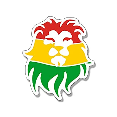 American Vinyl Rasta Lion Head Shaped Sticker (Rastafari Afro Weed Pot Reggae): Automotive