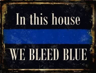 Smart Blonde Signs Bundle: Placa decorativa de pared de la policía – We Bleed Azul, en esta familia, delgada línea azul de protección de carretera, soporte nuestro imán de policía y azul
