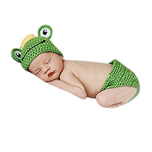 [Eyourhappy Baby Boys Newborn Handmade Knitted Crochet Hat Prince Frog Costume Photography Prop] (Prince Frog Costumes)