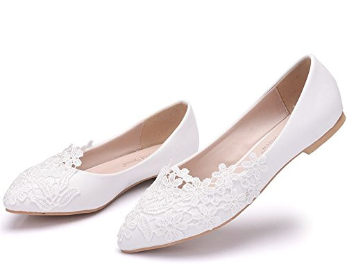 Toe HYP Women Wedding Wedding Party Bridal Shoes Pumps Flat Large Closed Shoes Court Women Bridesmaid White tip Shoes Wedding Shoes rB8wrq