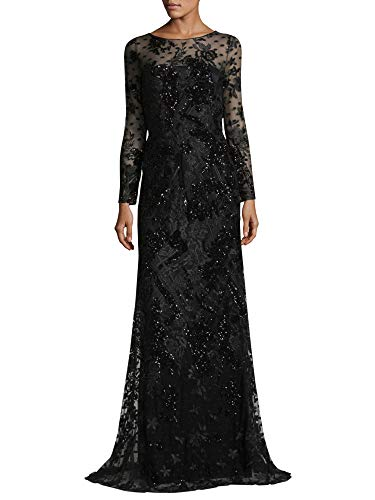 David Meister Embroidered Floral Tulle Long Sleeve Evening Gown Dress Black