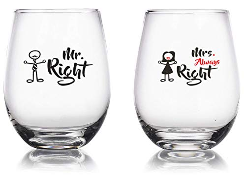Mr. Right and Mrs. Always Right - 15 oz Novelty Wine Glass Combo - Engagement/Anniversary Gag Gifts for Couples - Funny Wedding/Birthday Glasses Gift for Men or Women - Bachelorette Party Favors -