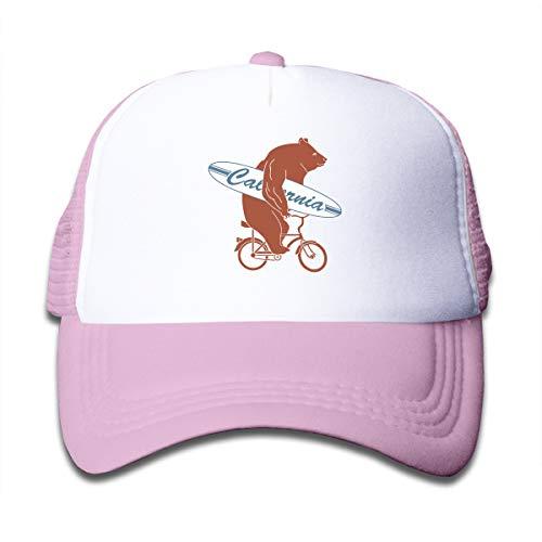 Kid's California Bicycle Bear Trucker Baseball Cap Adjustable Mesh Hat Girl Boy