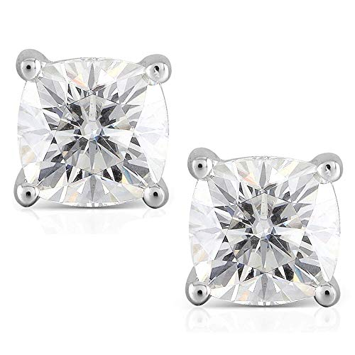 DovEggs 10K White Gold Post 2.2CTW 6MM H Color Cushion Cut Moissanite Simulated Diamond Stud Earrings Platinum Plated Silver Push Back