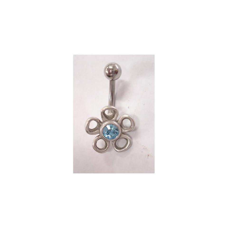 Sky Blue Gem Flower Silver Belly Ring