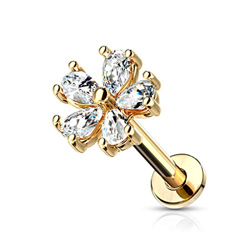 MoBody 16G Five Pear CZ Petal Flower Labret Piercing Stud Surgical Steel Internally Threaded Monroe Lip Ring Helix Earring (Gold-Tone, ()