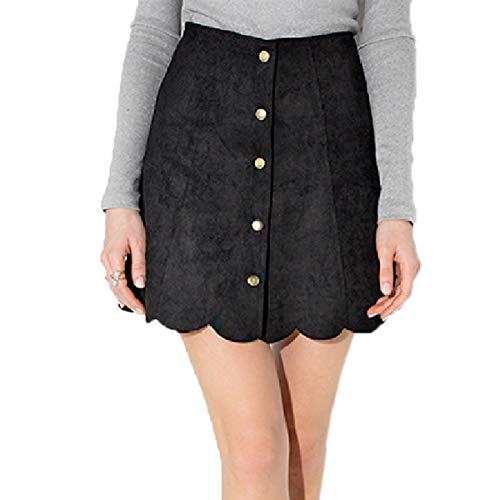 Escalier Women's Faxu Seduex Leather Skirt High Waist Button Up Mini A Line Skirts ()