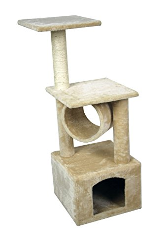Saneidcat-36-Cat-Kitty-Tree-Scratcher-Play-House-Condo-Furniture-Toy-Bed-Post-House-Beige