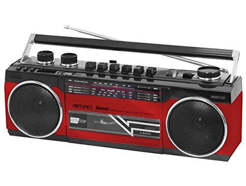Retro Boom Box (Riptunes Cassette Boombox, Retro Blueooth Boombox, Cassette Player and Recorder, AM/FM/SW-1-SW2 Radio-4-Band Radio, USB, and SD,)