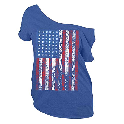 (Barthylomo Patriotic American Flag Print T-Shirt, Women Cold Shoulder Plus Size Tops Short Sleeve Sexy T-Shirts)