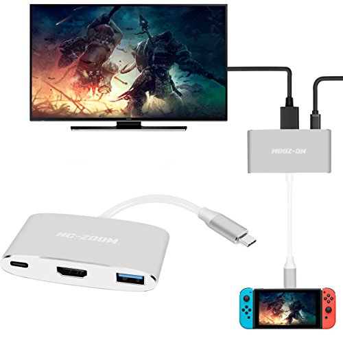 - NC-ZOOM USB-C HDMI Adapter for Nintendo Switch,Type C USB to HDMI Converter Dock Cable for Nintendo Switch - Support MacBook Pro (3 in 1-Sliver)