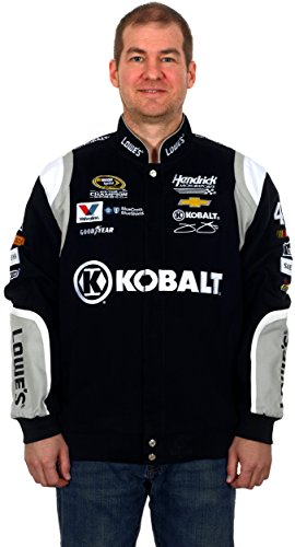 Jimmie Racing T-shirt Johnson (Jimmie Johnson #48 Kobalt Tools Black/Gray Cotton Twill NASCAR Racing Jacket (X-Large))