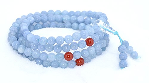 The Art of Cure Healing Jewelry & Mala meditation beads (108 beads on a strand) (aquamarine) (Bracelet Strand Aquamarine)