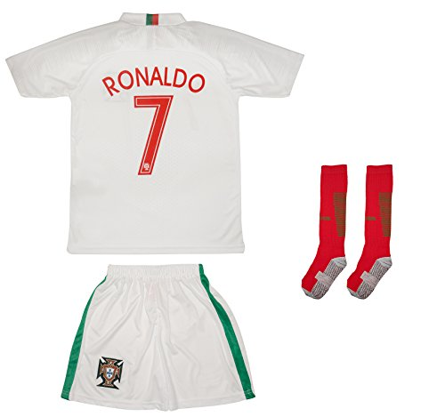 - Soccer Youth Jersey Set ● Portugal ● 2018 Jersey with Socks ● # 7 Ronaldo (2-3 Ages ● X-Small, Away)