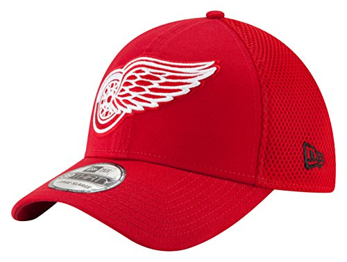 NHL Detroit Red Wings Men's Mega Team Neo 39THIRTY Stretch Fit Cap, Small/Medium, Red