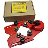 "Drilax™ Drill Bit Hole Saw Guide Jig Fixture Vacuum Suction Base with Water Coolant Hole for Tiles, Glass, Fish Tanks, Marble, Granite, Ceramic, Porcelain Guides Holes 1/8"" to 3 1/4 Inches Diamond Drill Bits Not Included Removable Bearings"
