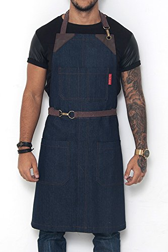 Classic Blue Apron - Durable Denim, Leather Reinforcement and Split-Leg - Adjustable for Men and Women - Pro Chef, Barista, Bartender, Baker, Stylist, Tattoo, Artist, Server Aprons ()