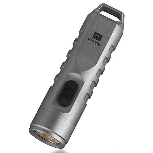 RovyVon A2 High CRI Flashlight, NICHIA 219C, 350 Lumens, Rechargeable EDC Keychain LED Torch, Stainless Steel, Natural White