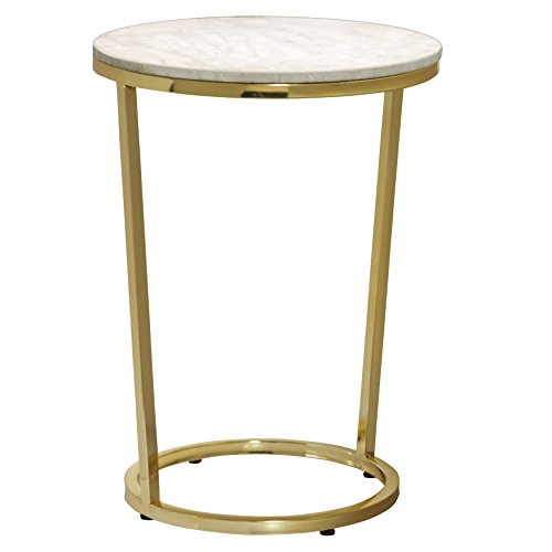 Cheap Pulaski P020400 Emory Marble Top Round Accent Table with Gold Finish, 18″ x 18″ x 25″