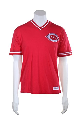 Cincinnati Reds MLB Men's Overtime Win Vintage V-Neck T-Shirt (Medium) (Cincinnati Striped Shirt Reds)
