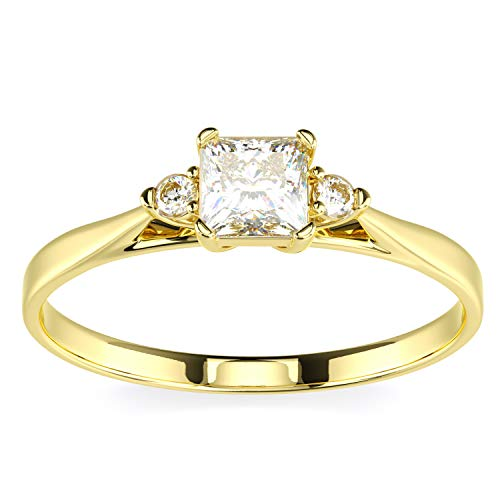 (14K Yellow Gold Princess Cut Center Stone White CZ 3 Three Stone Engagement Ring Size 6)