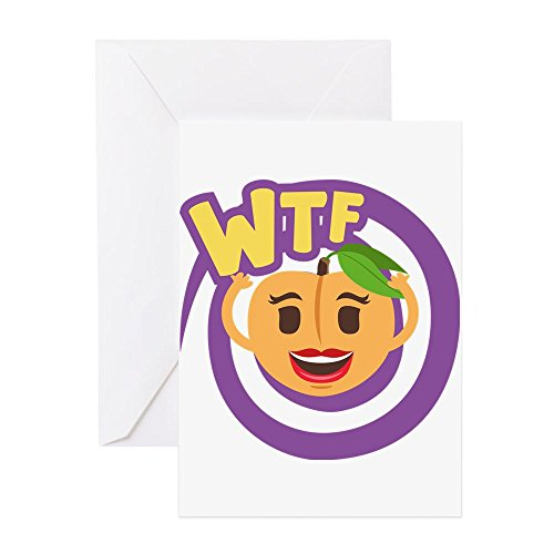 CafePress - Emoji Peach WTF - Greeting Card, Note Card, Birthday Card, Blank Inside Glossy