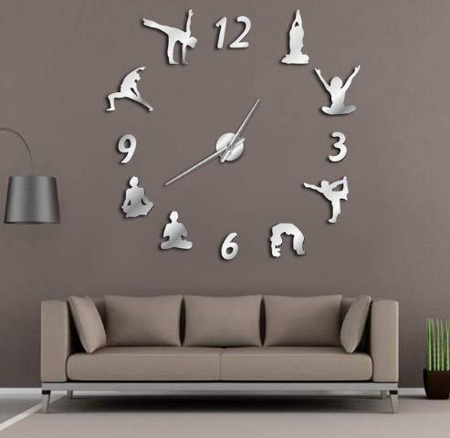 MFHYSJ Relojes de Pared, Efecto de Gran Espejo de Yoga en la ...