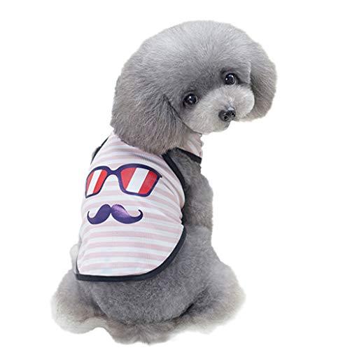 FakMe Pet Spring and Summer Glasses Mustache Vest Dog Costumes Pet Dog Clothes Vest Pet Apparel