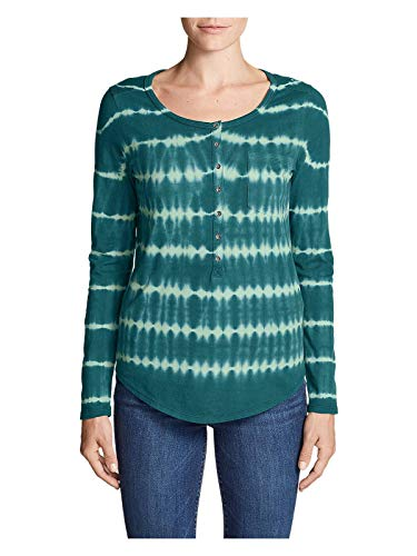 (Eddie Bauer Women's Gypsum Long-Sleeve Henley Shirt - Tie Dye, Spearmint Regular)