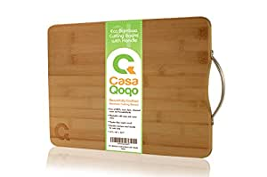 Bamboo Cutting Board 14x10 with Handle - Eco-friendly Wooden Chopping Board Made With Premium Organic Bamboo Wood - Durable and Light Weight Block. Free of BPA and Toxic Dyes
