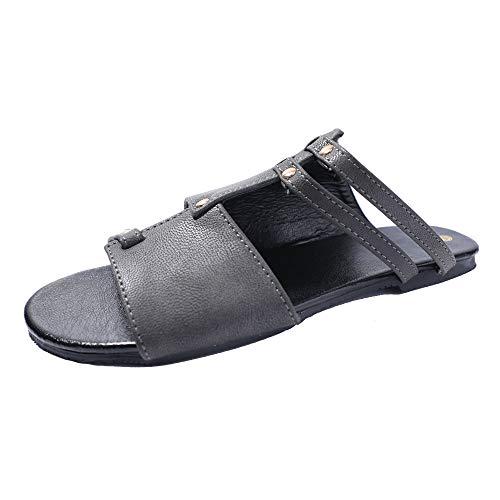 FASHIONMIA Women's Summer Beach Open Toe Leather Slip on Flat Sandals Gray 7 US/38 EU from FASHIONMIA