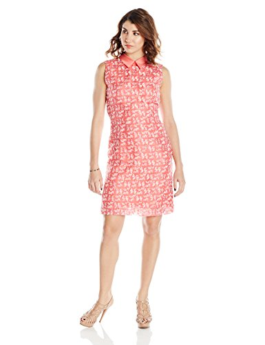 Leonor Silva Women's Embroidered Silk Sleeveless Dress with Mikado Collar 4 Pink ()