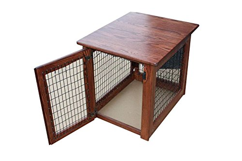 Wooden Dog Crate Furniture End Table Bed in Different Stain Colors (Michael's Cherry, Large) ()