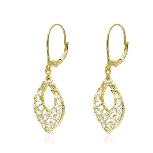 Two Tone Sterling Silver Diamond-Cut Filigree Leverback Dangle Drop Earrings