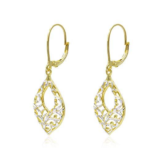 (Two Tone Sterling Silver Diamond-Cut Filigree Leverback Dangle Drop Earrings)